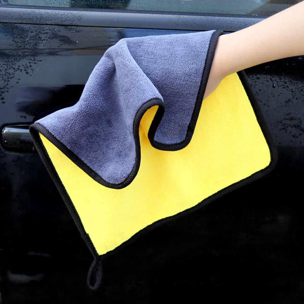 Double Color Microfiber Car Wash Towel Cleaning Drying Care Cloth Hemming Strong Absorbent - 30*30cm
