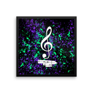 Music is Life - Framed poster by Reformation Designs