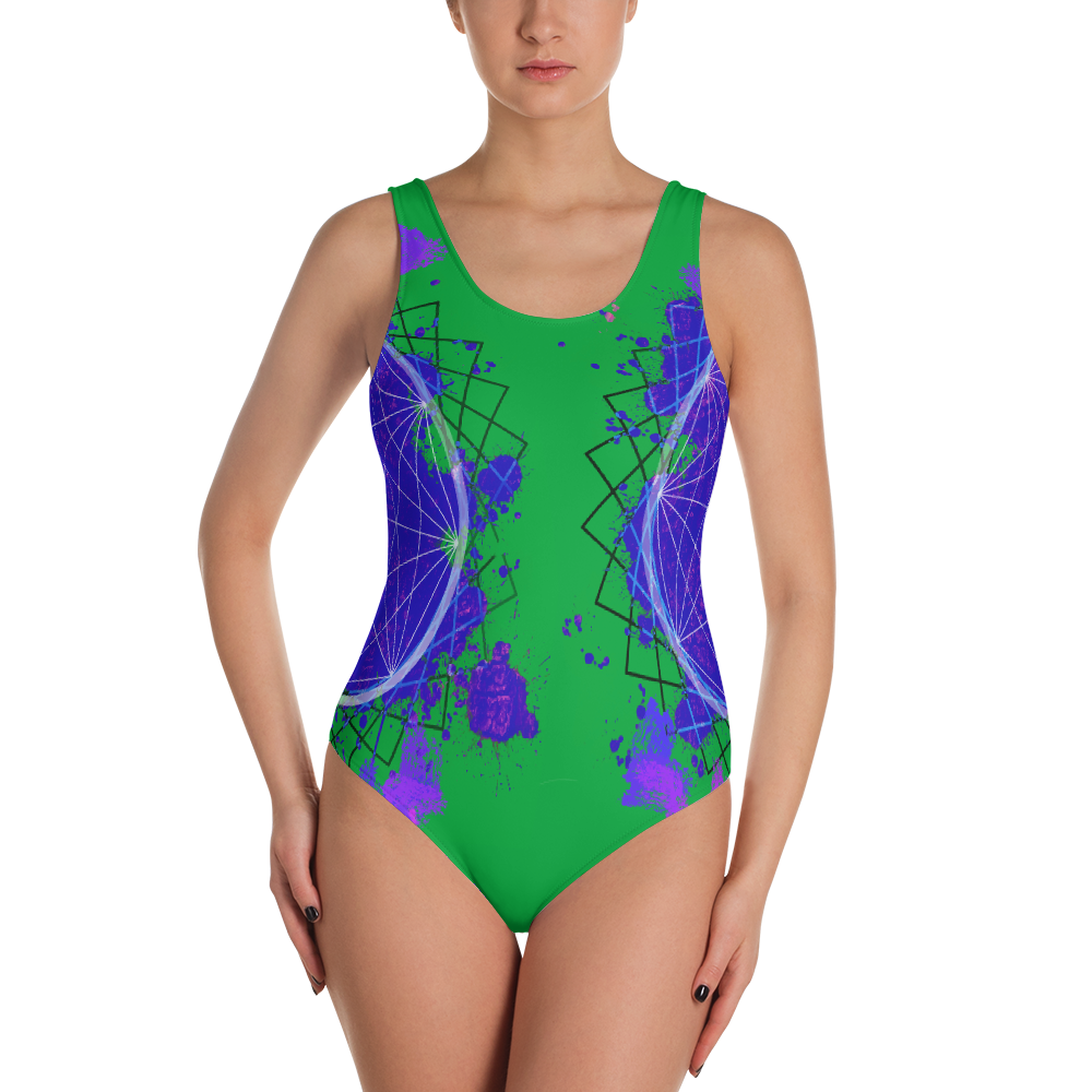 Splattered Geometry - One-Piece Swimsuit