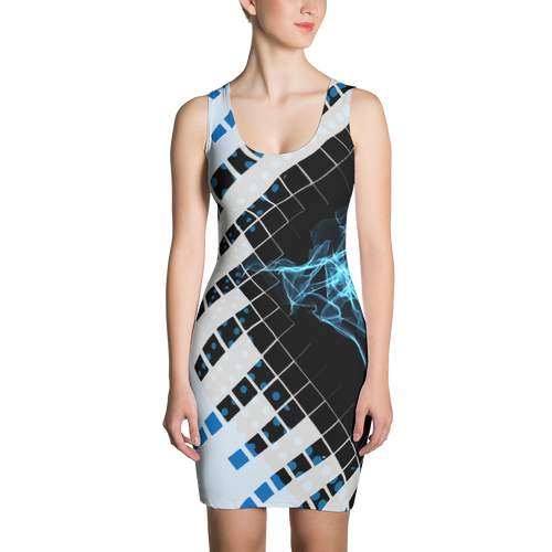 Bits, Blues, and Bytes - All Over Printed Dress