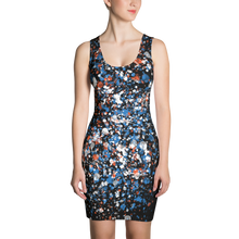 Blue, Orange and White Spatters - All Over Printed Dress