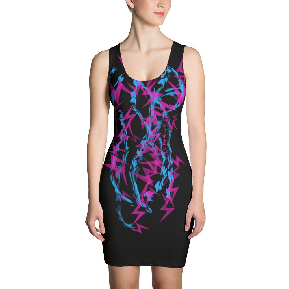 Pink and Blue Electrix - All Over Printed Dress
