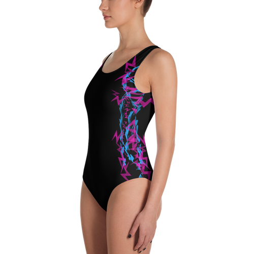 Pink and Blue Electrix One-Piece Swimsuit