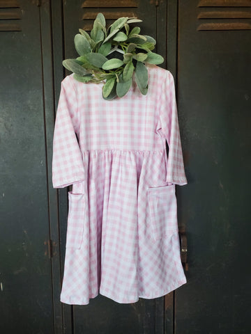 Country Gingham Dress sweet pea pink