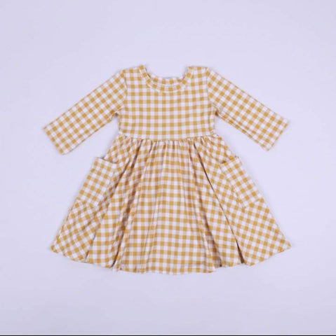 Country Gingham Dress sunshine yellow