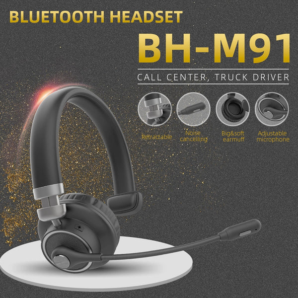 Trucker Bluetooth Headset with Microphone, 40 Hrs Wireless Headset, Active Noise Cancelling Mic - Natogears