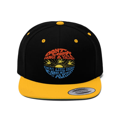 Don't Worry Flat Bill Cap / Bob Marley, 3 Little Birds, 70's Reggae Music, Favorite Happy Song Lyrics, Zen, Peace, Love, Music Gift