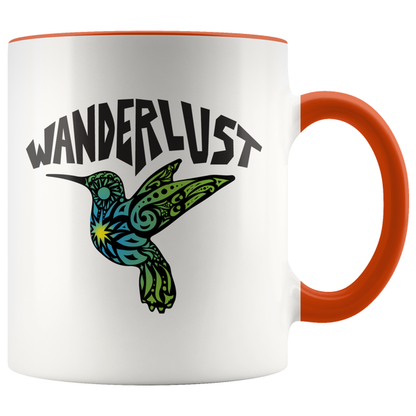 Hummingbird Wanderlust Color Love Mug / Travel Gift, Nature Lover, Wander Free, Hippie Bohemian, Bird Wings Fly, Wander, Zen