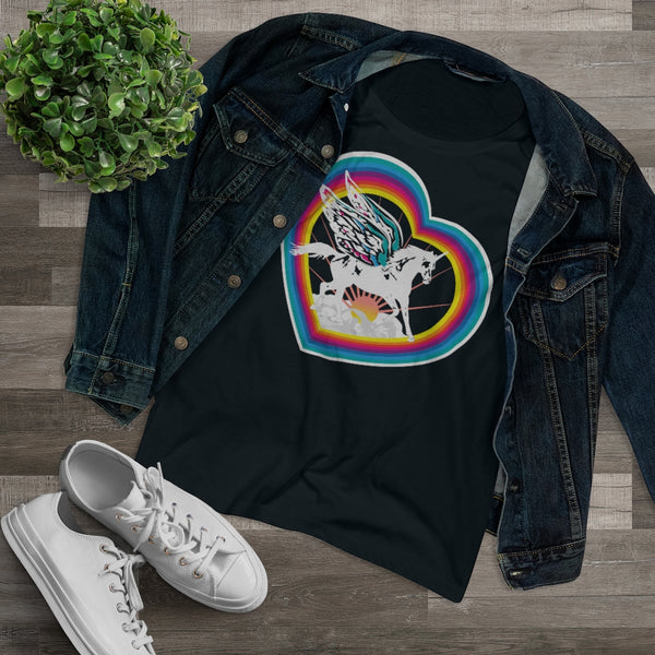 Unicorn Magic Heart Rainbow - Organic Women's T-Shirt / Fairy Wings, Lucky Fairytale, Flying Horse, Fantasy & Sci Fi Story, Kids Adult