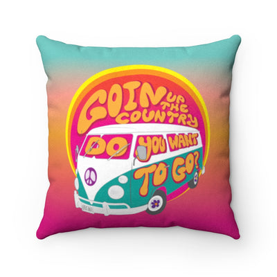 Goin' Up The Country - Tie Dye Fleece Pillow / Woodstock Festival 69, Hippie VW Bus Road Trip