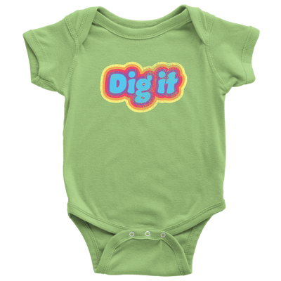 Dig It - Baby Onesie / Retro Cool Baby, Vintage 70s Design, Baby Gift, 70's Sayings, Groovy, Show What and Who You Love