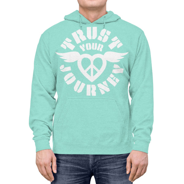 Trust Your Journey, Peace Love Winged - Lightweight Hoodie / Yoga Gift, Self Power, Individuality, Unique Story, Live Brave