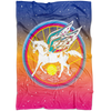 Magic Unicorn Fleece Blanket / Kids Bed Blanket, Fairy Wings, Fairytale Rainbow, Pegasus, Flying Horse, Lucky Blanket, Fantasy & Sci Fi Story