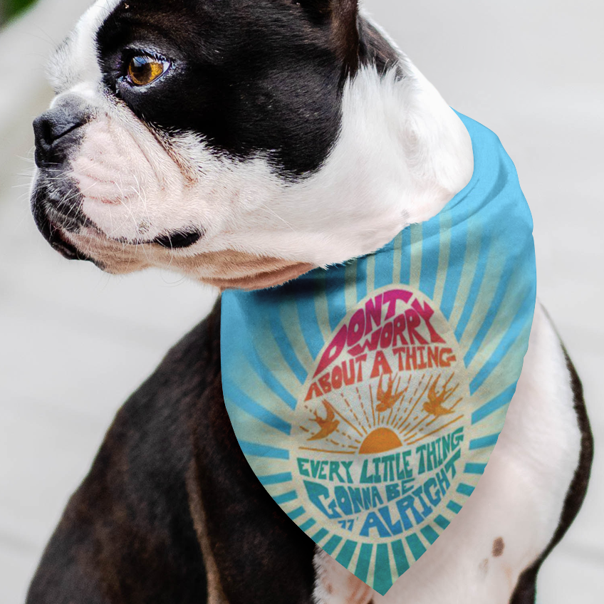 Don't Worry Pet Bandanna / Be the Cool Dog, Pet Gift, Happy Pet Fashion
