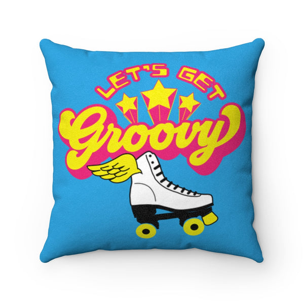 Groovy Roller Skate Team - Plush Fleece Pillow / Retro Vibe, Roller Disco Derby