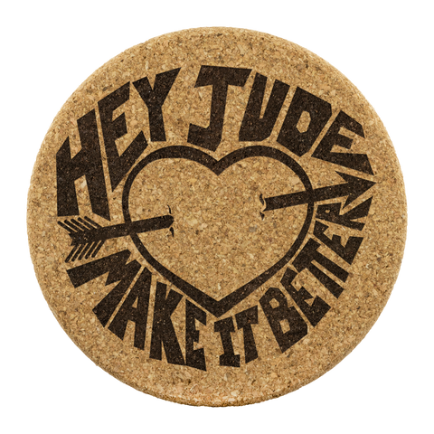 Hey Jude - Premium Cork Coasters / The Beatles Gift, Song Lyrics, Vintage 60's Rock Music, Zen, Peace, Love, Hippie, Music Gift, British Band