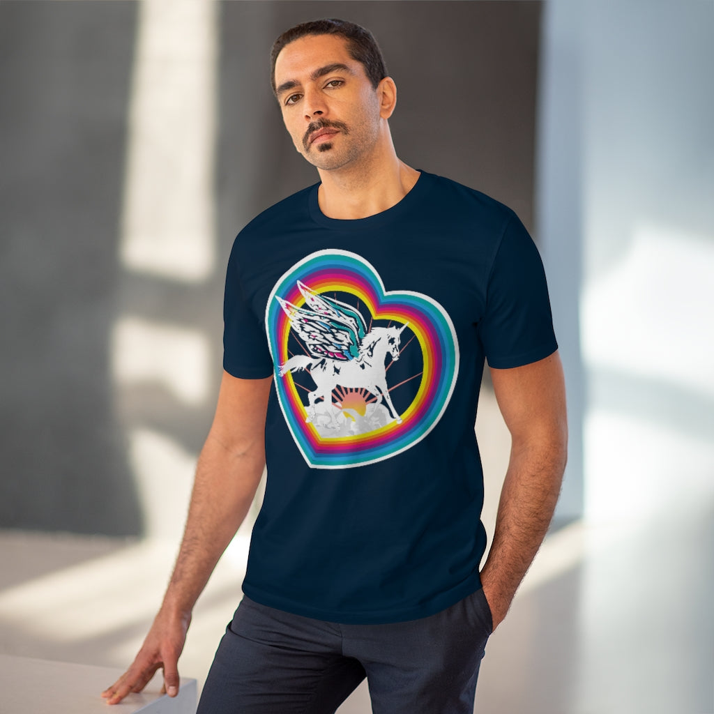 Unicorn Magic Heart Rainbow - Organic Cotton T-Shirt / Fairy Wings, Lucky Fairytale, Flying Horse, Fantasy & Sci Fi Story, Kids Adult