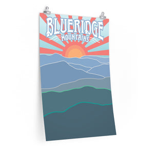 Blueridge Mountains Sunrise Premium Matte Posters / Appalachian Trail Hike, East Coast Blue Ridge Gift, Georgia Carolina Tennessee Virginia