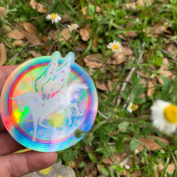 Unicorn Magic Sticker / Fairy Wings, Fairytale Rainbow, Hologram, Fantasy