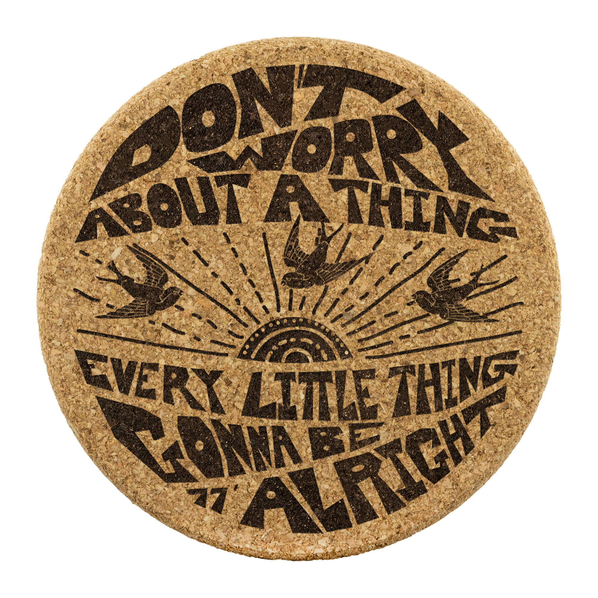 Don't Worry Premium Cork Coasters / Bob Marley, 3 Little Birds, 70's Reggae Music, Favorite Happy Song Lyrics, Zen, Peace, Love, Music Gift