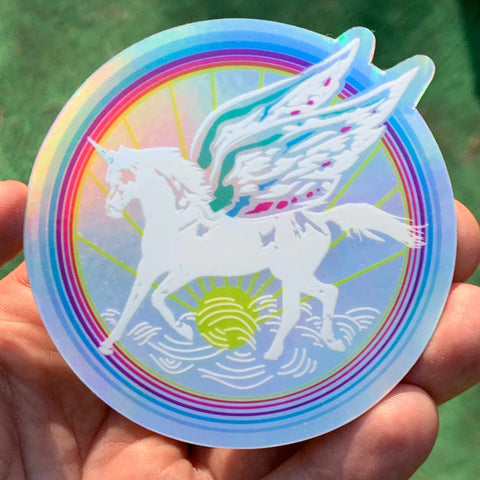 Magic Unicorn Sticker / Fairy Wings, Fairytale Rainbow, Hologram, Fantasy & Sci Fi Story