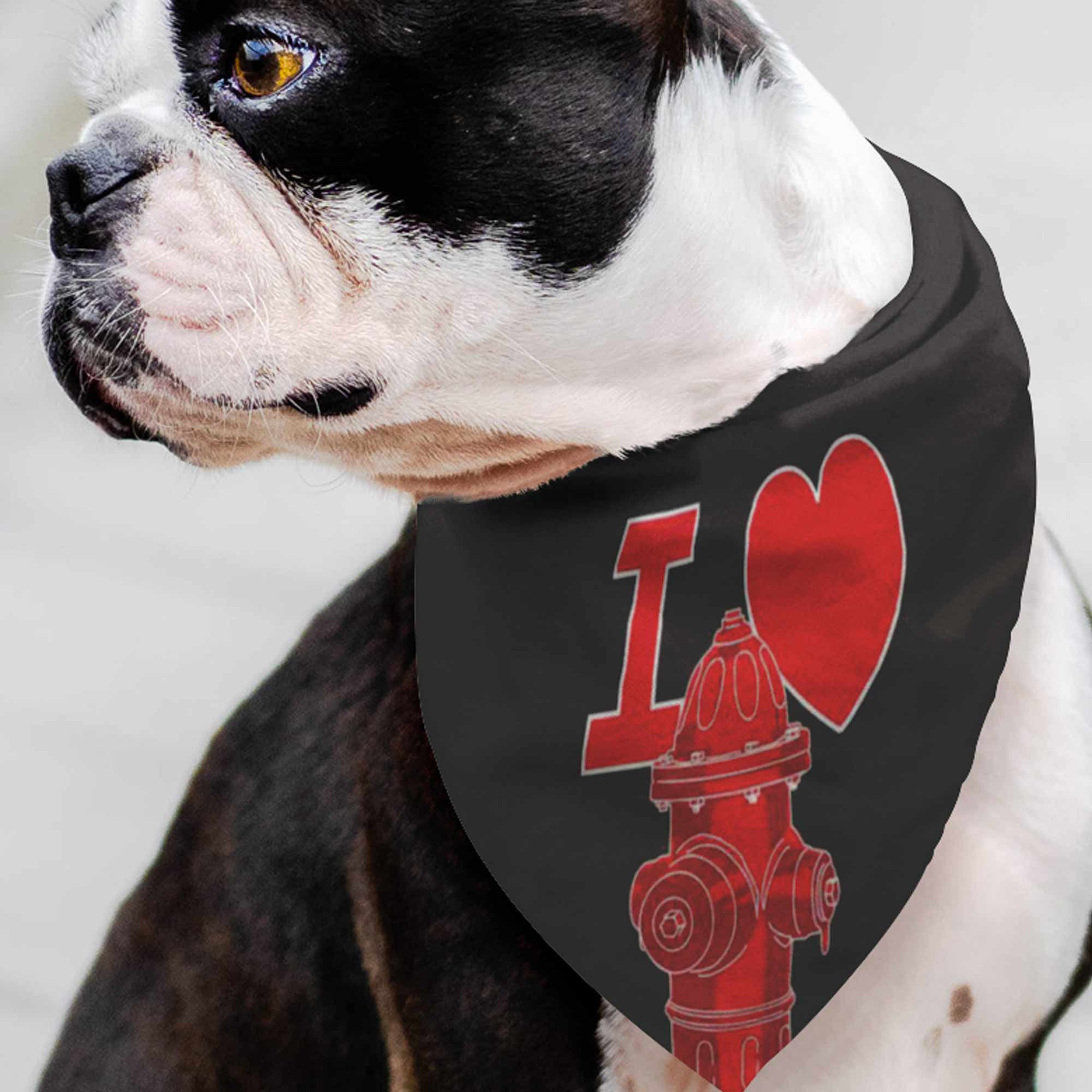 I Heart Fire hydrants Pet Bandana / Be the Cool Dog, Pet Gift, Happy Dog, Pet Fashion, Dog Wardrobe, Handkerchief, Dog Walk