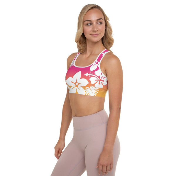 Surf's Up - Padded Sports Bra / Beach Mode Style Hawaii California, Workout Running Yoga