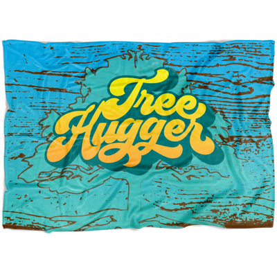Tree Hugger Awesome Fleece Blanket / Environment Gift, Global Warming, Climate Change, Nature Lover, Forest Trail, Happy Camper