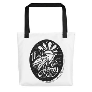 Trust Your Journey Tree Slice Tote Bag