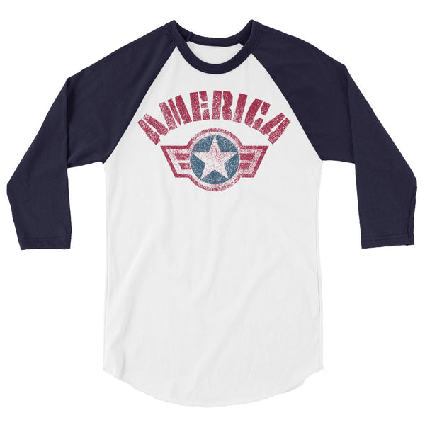 Team America, Star And Stripe Dominance - 3/4 sleeve raglan shirt