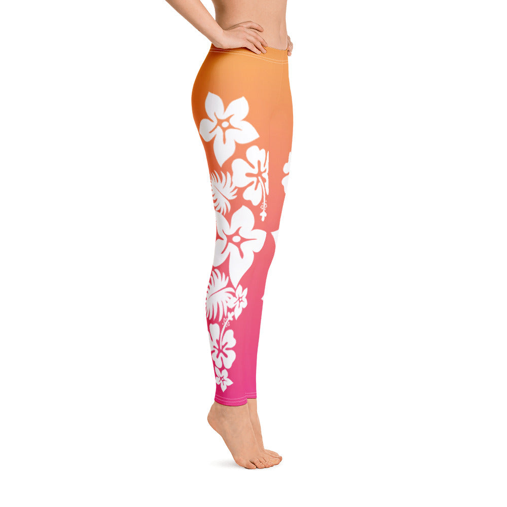 Surf's Up - Premium Leggings / Hawaiian Flowers, Sunrise Colors