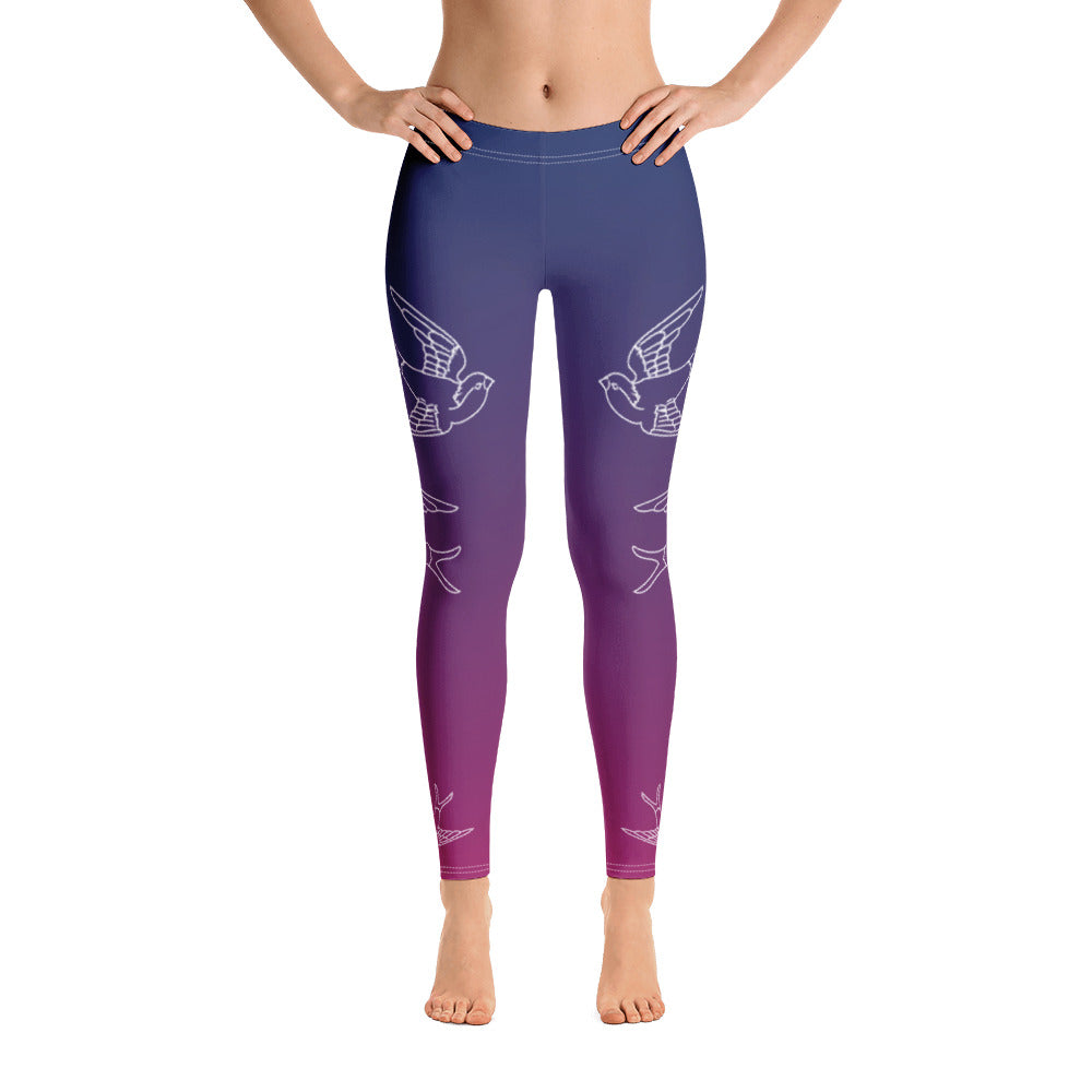 Zen Sunset - Premium Leggings / Swallows Flying