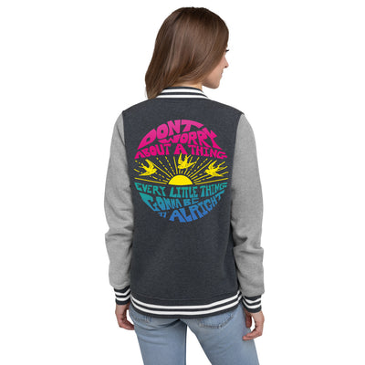 Don't Worry Women's Varsity Jacket / Bob Marley, 3 Little Birds, Music Gift