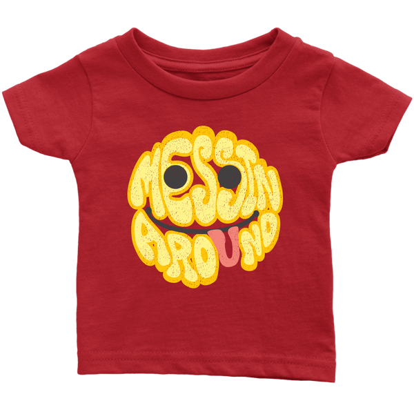 Messin' Around - Infant T-Shirt / Smiley Face, Play Shirt, Fun Shirt, Funny Baby Shower Gift, Messy Baby Gift, Baby Explore & Learning T-Shirt