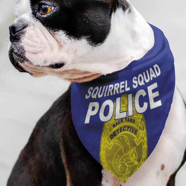 Squirrel Squad POLICE Pet Bandana / Back Yard Detective, Police Detective Badge, Squirrel Chaser, Dog Gift, Acorn Nut, Be the Cool Dog, Pet Gift, Happy Dog, Pet Fashion, Dog Wardrobe, Handkerchief, Dog Walk