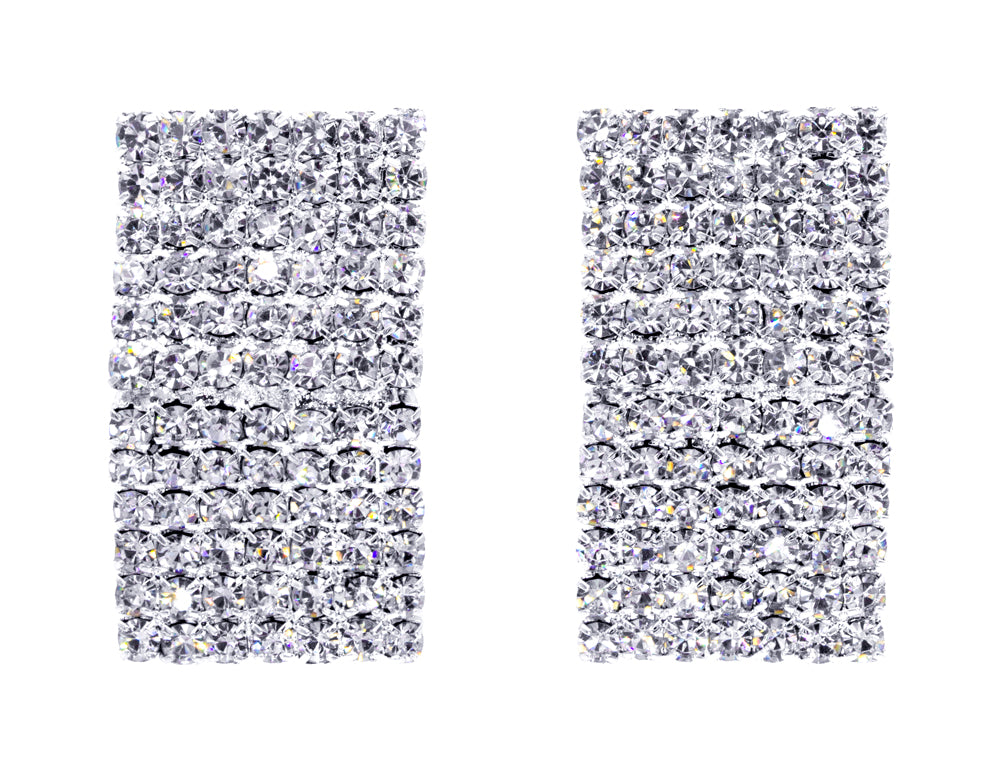 #10003E -  Rhinestone Potato Chip Earrings