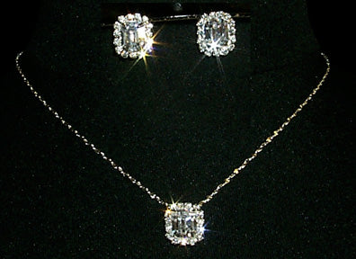 Octagon Necklace and Earring Set - #10423