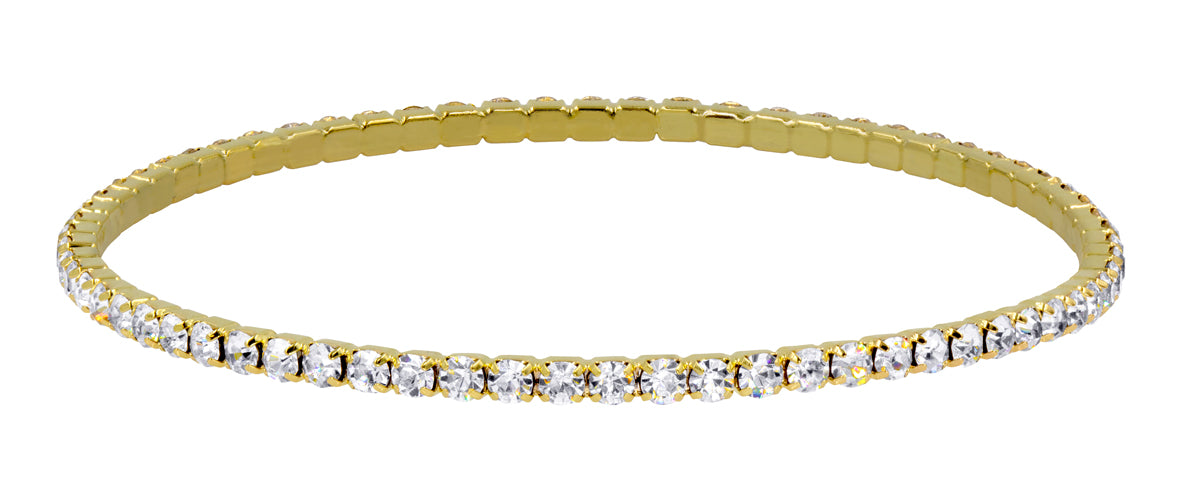Gold Plated Crystal Rhinestone Bangle - Single Row - Gold Plated