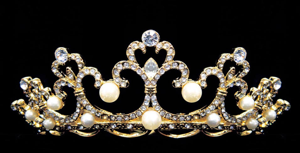 #11518 - Pave Crystal Tiara - Gold Plated