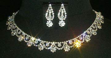 #11664 Flower Trim Necklace and Earring Set