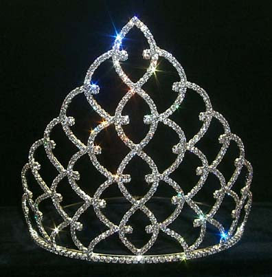 #11931S - Traditional Rhinestone Crown - #11931S Silver 8""