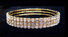 #11949 - 3 Row Stretch Rhinestone Bracelet - All Clear Crystal Gold