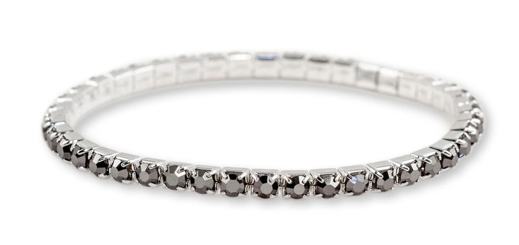 #11950 Single Row Stretch Rhinestone Bracelet - Hematite Crystal  Silver