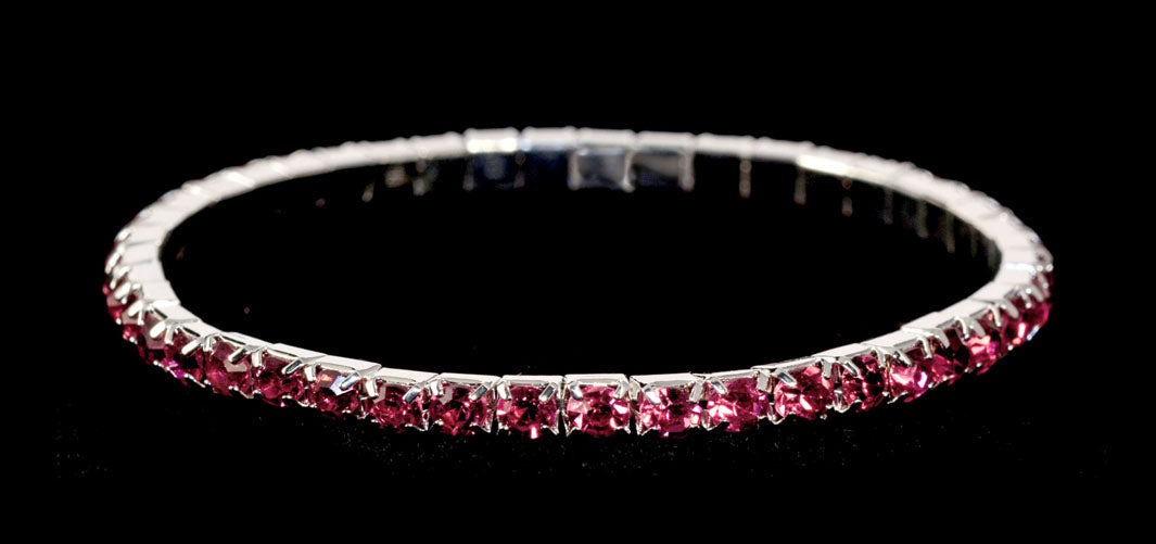 #11950 Single Row Stretch Rhinestone Bracelet - Fuchsia Crystal  Silver