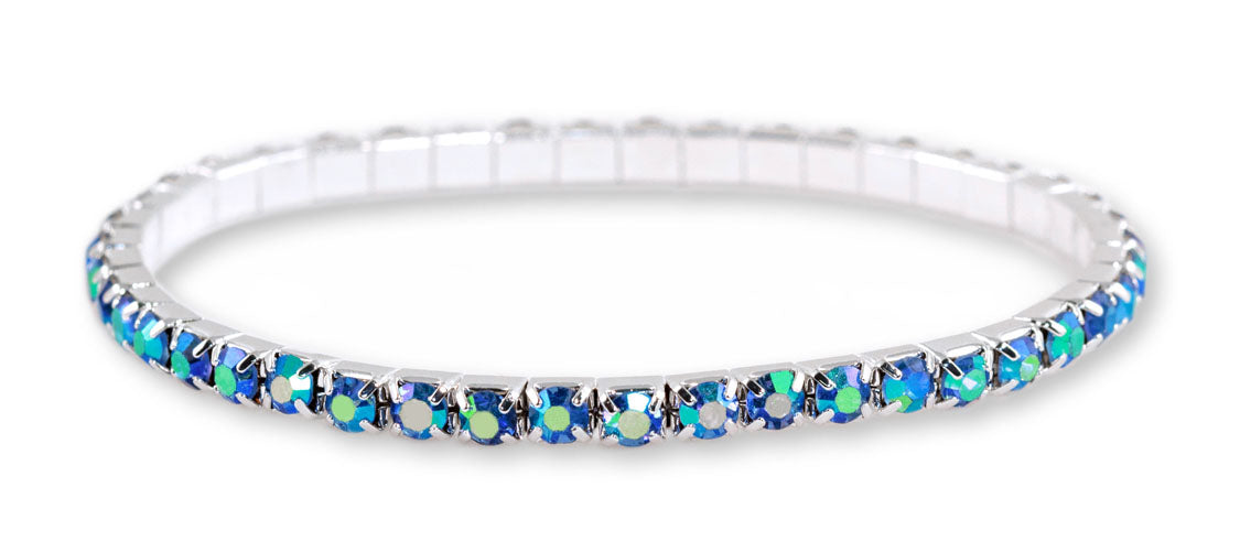 #11950 Single Row Stretch Rhinestone Bracelet - Light Sapphire AB Crystal  Silver