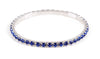 #11950 Single Row Stretch Rhinestone Bracelet -  Sapphire Crystal  Silver