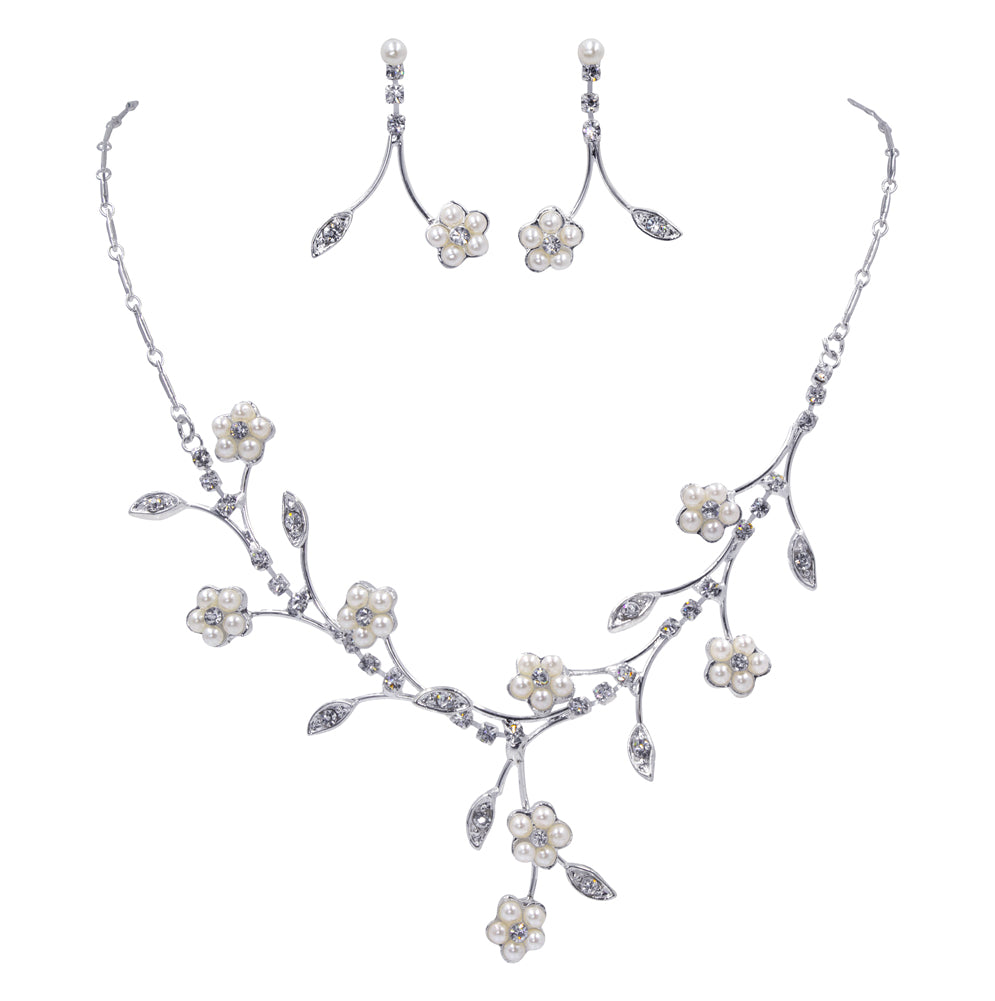 #11975 Pearl Flower and Leaf Neck and Ear Set
