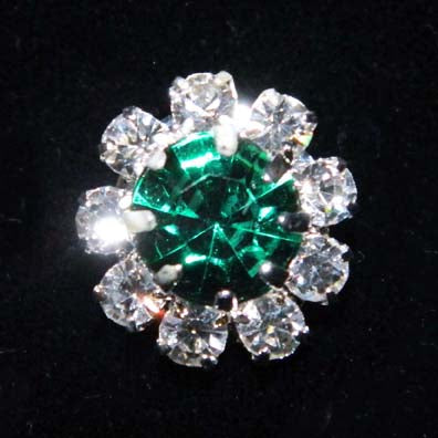 "9/16"" Rosette Button - #1215 Emerald (May)"