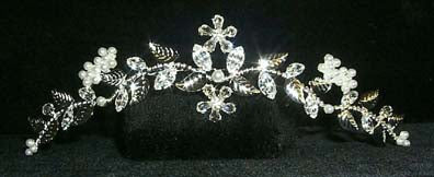 #12193 - Rhinestone and Pearl Flower and Leaf Comb
