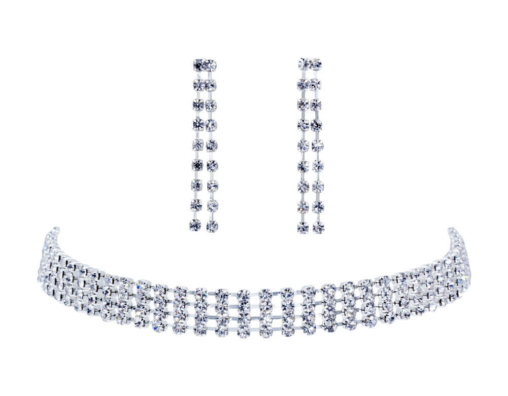 #12208 4 Row Rhinestone Choker and Earring Set